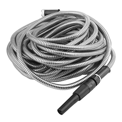 Nexttechnology 75' Indestructible Stainless Steel Metal Garden Hose, Lightweight, Kink-Free, Puncture Resistant and Stronger Than Ever, Durable and Easy to Use ()