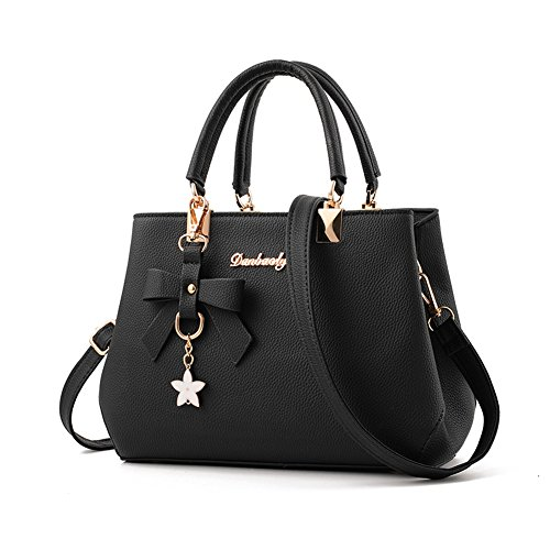 Womens Handbags Wholesale (Fantastic Zone Women Handbags Fashion Handbags for Women PU Leather Shoulder Bags Messenger Tote Bags Black)