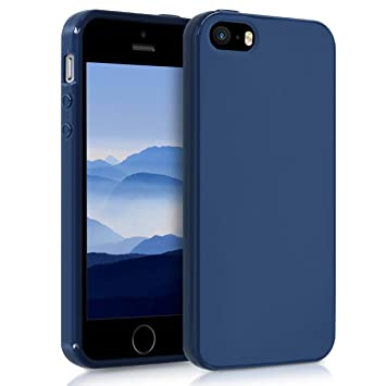 kwmobile Funda para Apple iPhone SE / 5 / 5S - Carcasa para móvil en [TPU Silicona] - Protector [Trasero] en [Azul Marino]