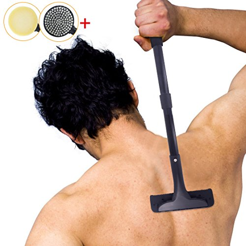 Back Shaver, Back Hair Shaver & Razor, Evantek Body Grooming Kit for Back Hair Removal with Telescopic Handle and Safety Blades for Pain-Free Wet or Dry Shave