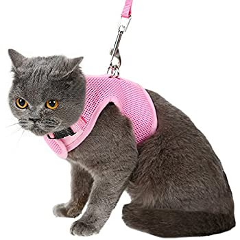 Escape Proof Cat Harness with Leash - Adjustable Soft Mesh - Best for Walking Pink Large