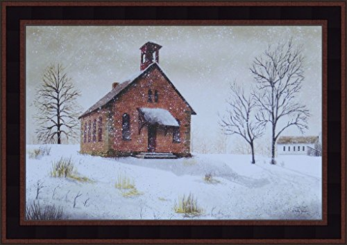 Home Cabin Décor Snow Day by Billy Jacobs 15x21 Little Country Brick School House Winter Snowing Primitive Folk Art Print Framed Picture ()