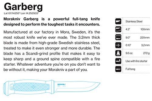 Morakniv Garberg Full Tang Fixed Blade Knife with Sandvik Stainless Steel Blade, 4.3 Inch