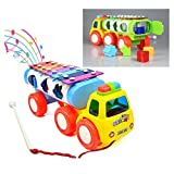 Itian 8 Notes Tap-a-tune Glockenspiel Knock Piano Pull Along Train Truck Toy with Shape Sorter for Early Learning for 3 Year Old+Kids (Random Color)