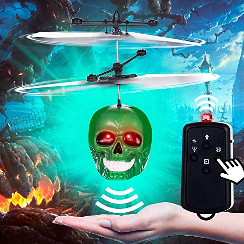 PALA PERRA Mini RC Helicopter Flying Toys, Hand Remote Control Skull Flying Toys with Remote Control & Screaming Sound, Rechargeable Infrared Induction Indoor Drone for Kids, Teens, Adults -
