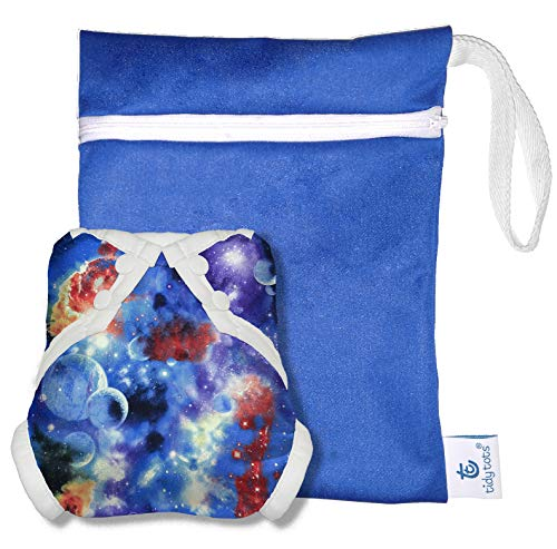 Tidy Tots Baby Swim Diaper Set Reusable Mess Proof Cloth Cover One Size (10-36 lbs) 3pc (Blue Galaxy)