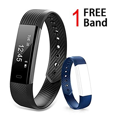 NavTour Fitness Tracker, Fitness Watch, Activity Tracker Smart Band with Sleep Monitor, Bluetooth Smart Bracelet Pedometer Wristband with Replacement Band for Android & iOS