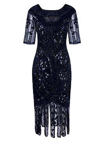 VIJIV Women's Vintage 1920s Style Sequined Beaded Roaring 20s Long Gatsby Flapper Dress with Sleeves for Themed Party, Blue X-Large -