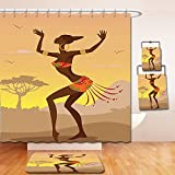 Nalahome Bath Suit: Showercurtain Bathrug Bathtowel Handtowel Afro Decor Ethnic Lady in Ritual Dance Person in Psychedelic Style Figures Artisan Image Brown Cocoa