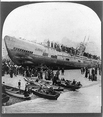 Photo: Notorious U-boat stranded on south coast, England, Surrender, World War I, WWI, 1914 . Size: