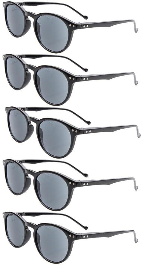 Eyekepper 5-Pack Gafas sol de lectura Ovalo redondo bisagras de resorte +1.75