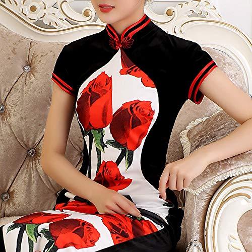 Longue Dans Velours Mère Section Femelle Taille Automne Bingqz Style Nouvelle Chinoise Chinois Soirée Cocktailvie Grande Xl Améliorée Robe Cheongsam La D'or De q7YwvA