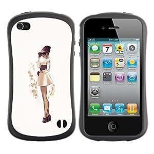 Suave TPU GEL Carcasa Funda Silicona Blando Estuche Caso de protección (para) Apple Iphone 4 / 4S / CECELL Phone case / / girl fashion sepia Japanese skirt dress /