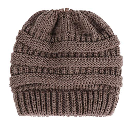 CHIDY Women Baggy Warm Pure Color Trend Ponytail Cap Crochet Winter Wool Knit Ski Beanie Slouchy Hat