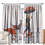 interesting walk in corner shower  DogPolyester curtainYoung Modern Girl Taking Pack of Dog for a Walk in The Rain Fun Joyful Times Artsy PrintDrapes for Living Room W84 xL108 Multi