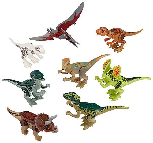 8PC Dinosaur ABS Toys for Kids Building Blocks Action Figures Toy Set - Chimpy - Dino Stackable Figures Lot