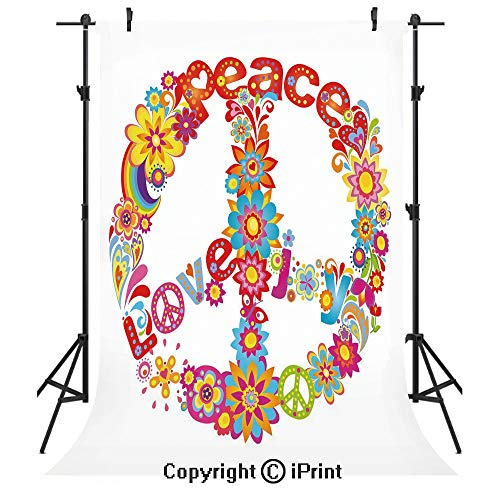 70s Party Decorations Photography Backdrops,Peace Sign Colorful Flowers Rainbows Love and Joy Festive Composition Decorative,Birthday Party Seamless Photo Studio Booth Background Banner 5x7ft,Multicol
