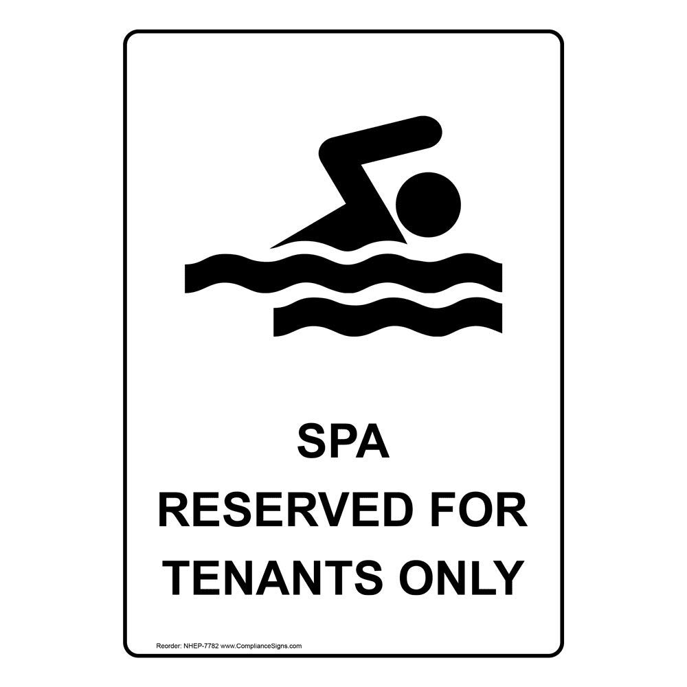 ComplianceSigns Vertical Vinyl Spa Reserved For Tenants Only Labels, 5 x 3.50 in. with English Text and Symbols, White, pack of 4