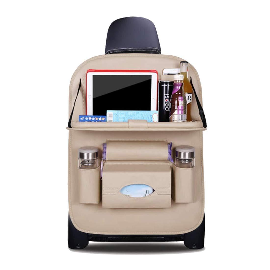 HONCENMAX Car Seat Back Organizer Foldable Dining Table Holder Tray Bottles Holder Multifunctional Protector Storage Bag Kick Mat Travel Accessory PU Leather Black