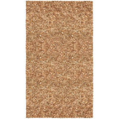 Pelle Short Leather Shag Rug, 5 by 8-Feet, Tan - Pelle Leather Brown Rug