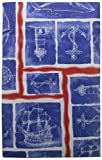 Seafaring Red, White and Blue Vinyl Tablecloth with Ships, Anchors, Whales, Lighthouses, Cardinal Directions (52