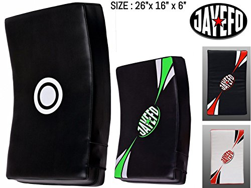 Curved Pads - Jayefo Strike Shield Kick Pad Kick Boxing Curved Focus Boxing Muay Thai MMA UFC (Black/Green)