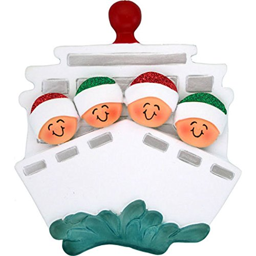 (Personalized Cruise Family of 4 Christmas Tree Ornament 2019 - Children Friends Glitter Hat Ship Tour Travel Ocean Waves Vacation Trip Winter Tradition - Free Customization (Four))
