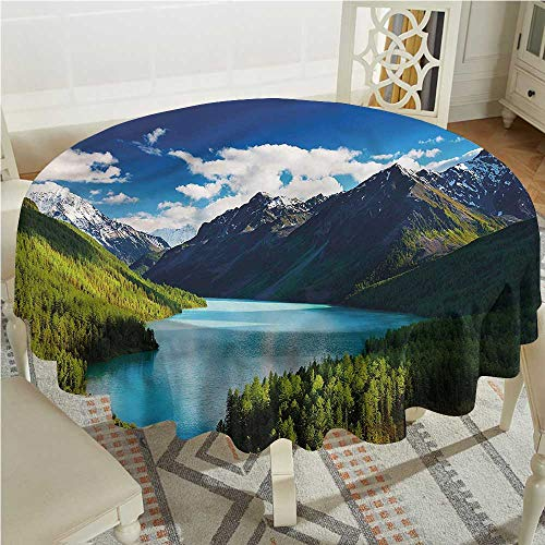 Tim1Beve Nature Stain Resistant Round Tablecloth Mountain Range Lake Pines Stain Resistant, Washable D70 INCH
