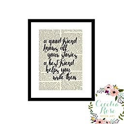 A Good Friend Knows All Your Stories A Best Friend Helps You Write Them Inspirational Quote Upcycled Vintage Book Page 6x8 Box Frame