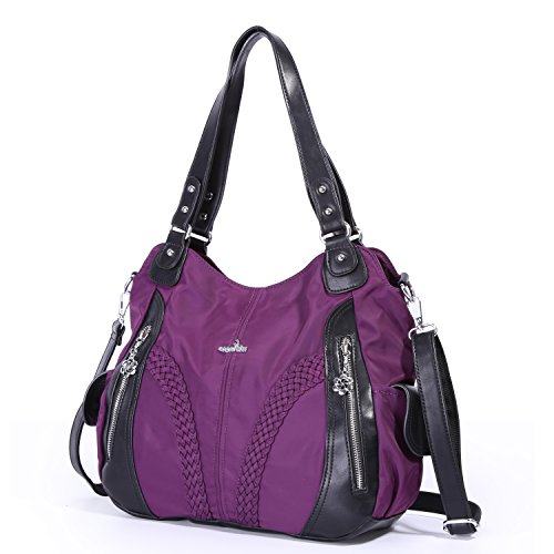 Angelkiss Women Top Handle Satchel Handbags Shoulder Bag Messenger Tote Nylon Material Purses Bag (Purple-1) by Angel Kiss (Image #1)