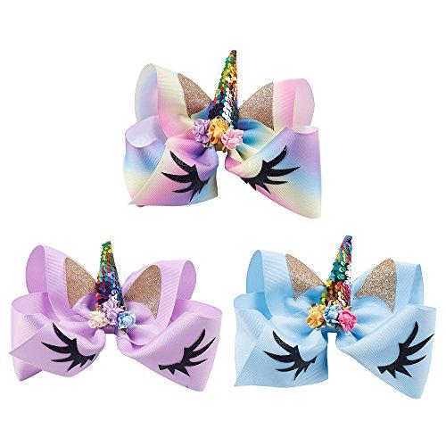 327fd1b122b9 Galleon - 3 Pcs Hair Bows For Girls Cheer Bows Glitter Baby Hair Clips  Holder Organizer