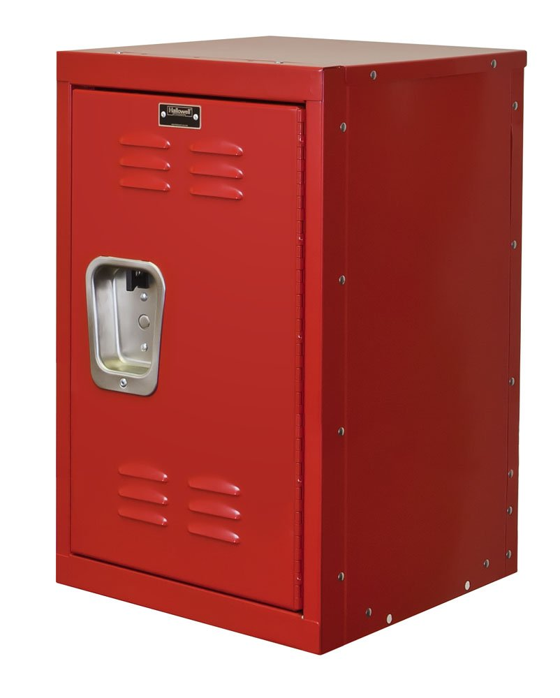 "Hallowell HKL151524-1RR Kid Mini Locker, 15"" Width x 15"" Depth x 24"" Height, Single Tier, 1-Wide, Knock-Down, 721 Relay Red"