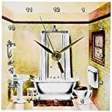 3dRose dc_62536_1 Picture of Painting of a Victorian Bathroom Desk Clock, 6 by 6-Inch For Sale