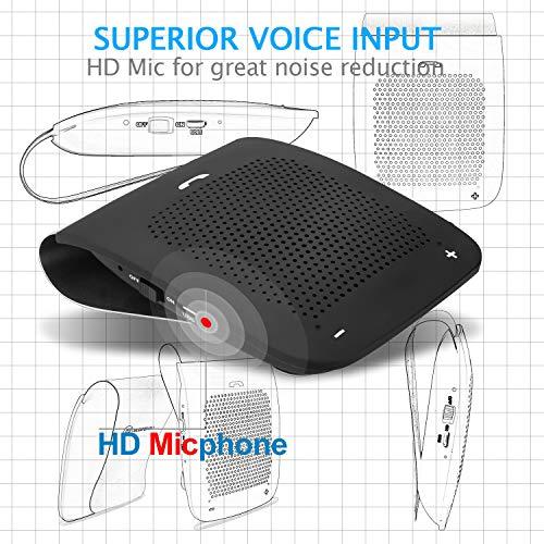 Slopehill in-car Bluetooth Speakerphone, Hands-Free Visor Bluetooth Speaker, Automatic Cellphone Connection for Safe Drive Talking (Black, Back Clip Design) by slopehill (Image #3)