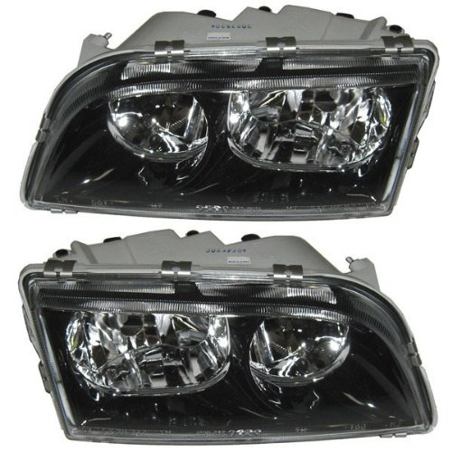 Volvo S40 Headlight Headlamp Black Trim Head Light Lamp Left Right Side Set - Assembly V40 Headlamp