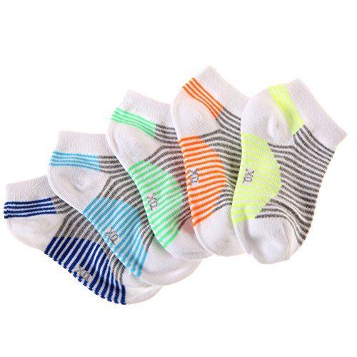 Eocom 5 Pack Kids Boy Striped Low Cut Cotton Soft Cute Breathable Socks (White, 6-9 Years) by Eocom (Image #3)
