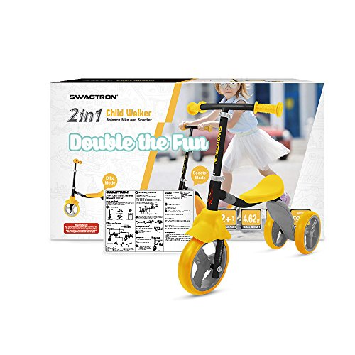 51%2B2g5C39OL - K2 Toddler 3 Wheel Kick Scooter & Ride-On Balance Trike 2-in-1 Adjustable for 2, 3, 4, 5 Year Old Kids Boy or Girl Transforms In Seconds (Yellow)