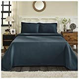 Superior 100% Cotton Basket Weave Bedspread with Shams, All-Season Premium Cotton Matelassé Jacquard Bedding, Quilted-Look Geometric Basket Pattern - Queen, Deep Sea
