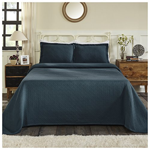 Superior 100% Cotton Basket Weave Bedspread with Sham, All-Season Premium Cotton Matelassé Jacquard Bedding, Quilted-look Geometric Basket Pattern - Twin, Deep Sea