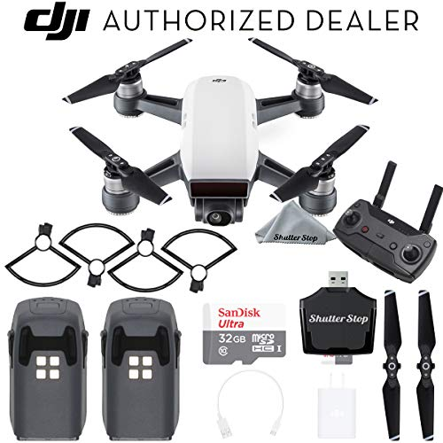 DJI Spark Drone - Alpine White with Remote Controller, 2 Batteries, Sandisk Ultra 32GB Memory Card, Card Reader, Prop Guards Travel Bundle Starter Kit
