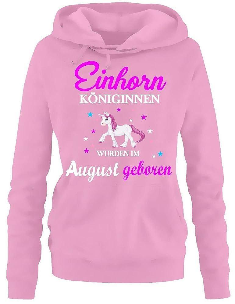 Einhorn Königinnen wurden im August geboren ! Unicorn Damen HOODIE  Sweatshirt mit Kapuze Gr.S M L XL XXL schenken Birthday Party Feiern   Amazon.de  ... 1db6be0b9b