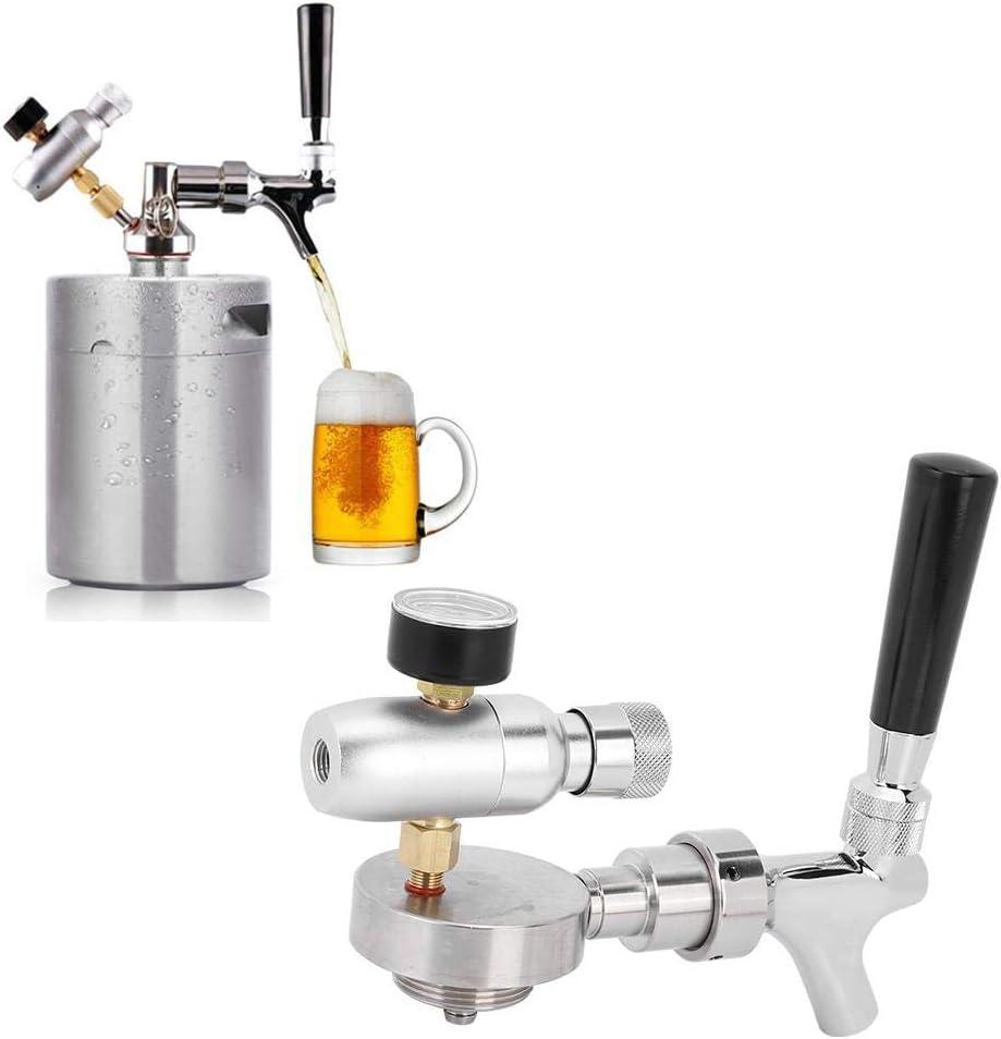 Grifo de Cerveza Ajustable, Dispensador de Tapa de Cerveza de Acero Inoxidable Barril de Cerveza Llave de Grifo Kit Accesorios para Manómetro con Mango Negro, Alta confiabilidad para Barril 2L / 3.6L