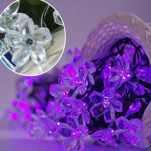 (Semintech Solar Powered String Lights Outdoor Waterproof 50LED Peach Blossom Xmas Decorations for Garden Patio)