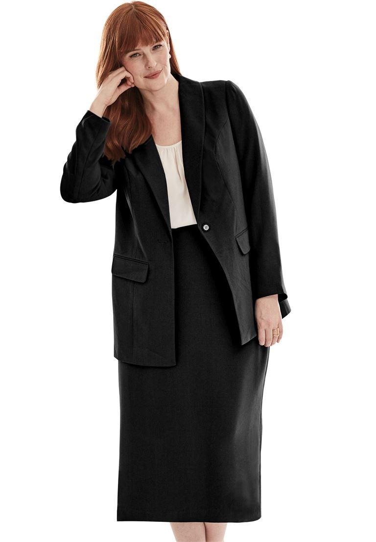 Jessica London Women's Plus Size 2-Piece Single-Breasted Skirt Suit Black,26