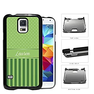 Green and White Small Polka Dots Pattern on Top with Dark and Light Green Vertical Stripes on Bottom and Green White Monogram in Center Hard Plastic Snap On Cell Phone Case Samsung Galaxy S5 SM-G900