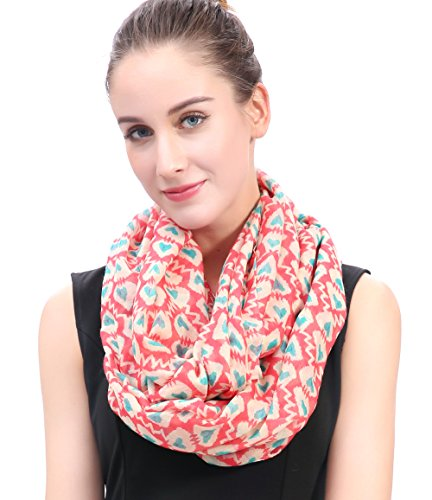 Lina & Lily Hearts Print Women's Infinity Scarf Valentine's Mother's Day Gift Ideas (Heartbeats) (Valentine Ladies Hearts Scarf)