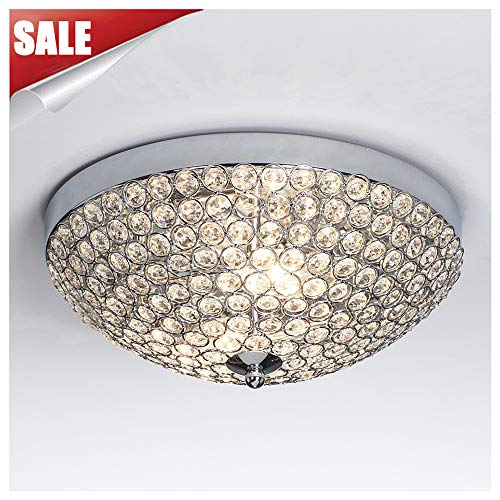 GLANZHAUS Modern Design 11.8 Inches Small Clear Crystal Beads Bowl Shaped Chrome Finish Base Chandelier Crystal Ceiling Light, Flush Mount Ceiling Light Suitable For Bedroom Living Room Hallway