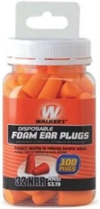 Walker's Foam Ear Plug Jar (100 Count), Orange
