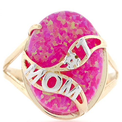 14k Solid Gold Whale Tail #1 Mom Fushia Simulated Opal Ring Solid 14k Gold Whale Tail