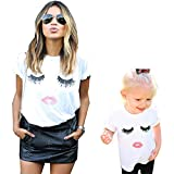 Family Matching T-shirts, Women Cute Eyelash Lip Printed Tops Casual T Shirt